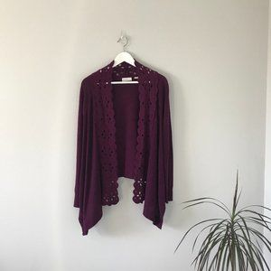 💸💸Anthropologie Plum Purple Cardigan Floral Felt